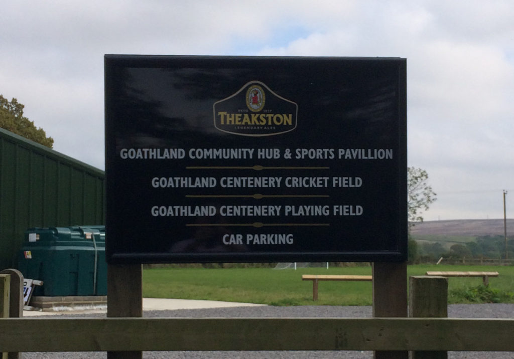 Photograph of the Goathland Community Hub and Sports Pavilion sign