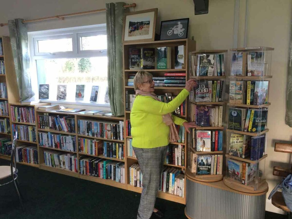 Volunteer co-ordinator Cath Jenkinson in the library.